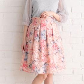ユメテンボウ 夢展望 シアー花柄×花柄スカート (ピンク)