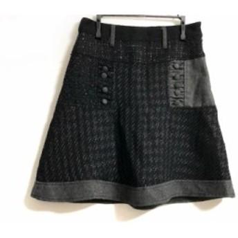 デシグアル Desigual スカート サイズ34 S レディース 黒×ダークグレー ツイード/ラメ【中古】