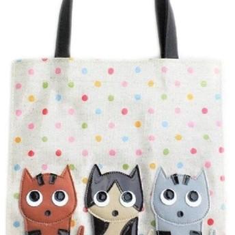 3匹ニャンコ トートバッグ 小さめ レディース 手提げバッグ 小物 猫柄 猫雑貨 猫グッズ 好き プレゼント
