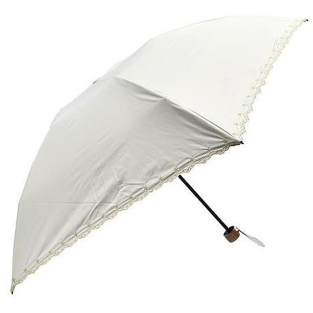 軽量遮光遮熱 晴雨兼用 折りたたみ傘 星柄刺繍 ホワイト