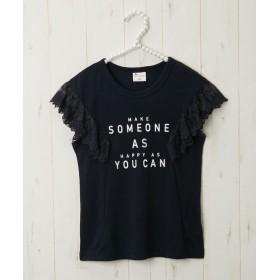 袖レース付ロゴTシャツ(女の子 子供服) Tシャツ・カットソー