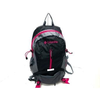 【中古】 コロンビア columbia リュックサック 美品 黒 グレー ピンク ナイロン
