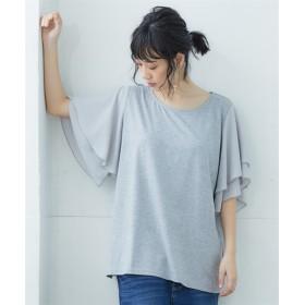 【ゆったりワンサイズ】袖異素材フレアトップス (Tシャツ・カットソー)(レディース)