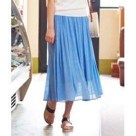 ふわり軽い楊柳ロングスカート(ウエスト改良2019ver.) (ロング丈・マキシ丈スカート)