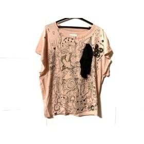 【中古】 ツモリチサト TSUMORI CHISATO Tシャツ サイズ2 M レディース ピンク 黒 マルチ リボン/ラメ