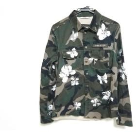 【中古】 バレンチノ VALENTINO 長袖シャツ サイズ46 XL メンズ 美品 MV3CI12044F カーキ 黒 白