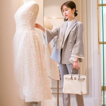 [55555SHOP ] 2019年 最新作 レディース新作ラッパの袖OL通勤/ 結婚式/豪華 2 点セットスーツ/ フォーマルスーツ 韓国ファッションスーツ 卒業式 入学式リクルートスーツ