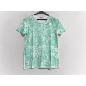 【中古】 イッセイミヤケ ISSEYMIYAKE 半袖Tシャツ サイズM レディース 美品 白 ライトグリーン