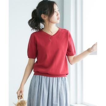 洗えるUVカット綿100%Vネック半袖セーター (ニット・セーター)(レディース),Knitting