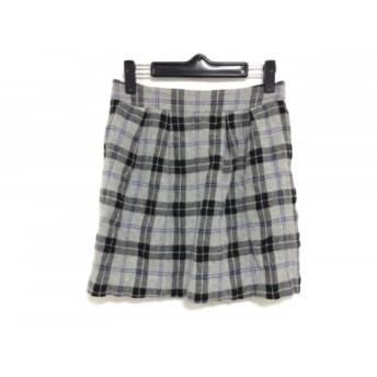 【中古】 セオリー theory スカート サイズ0 XS レディース ライトグレー 黒 ブルー チェック柄