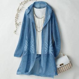 ベルーナ 抄繊糸(しょうせんし)透かし編ロングカーディガン ブルー系 L レディース