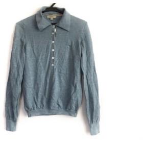 【中古】 バーバリーロンドン Burberry LONDON 長袖ポロシャツ サイズS レディース ライトブルー ニット