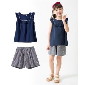 上下セット(トップス+刺しゅう入キュロット)(女の子 子供服。ジュニア服) シャツ・ブラウス