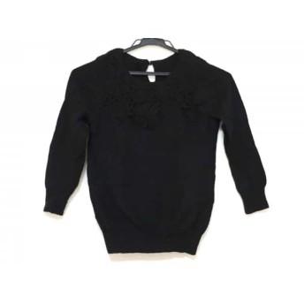 【中古】 グレースコンチネンタル GRACE CONTINENTAL 七分袖セーター サイズ36 S レディース 黒 フラワー