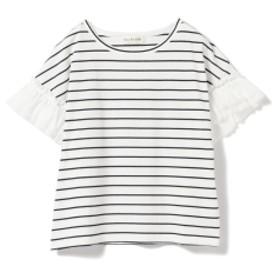Ray BEAMS / ギャザー フリルスリーブ Tシャツ レディース Tシャツ NY BORDER ONE SIZE