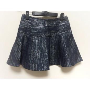 【中古】 チェスティ Chesty ミニスカート サイズ0 XS レディース ネイビー シルバー 黒