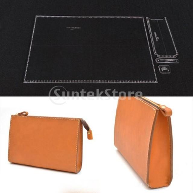 IPOTCH クラッチバッグ テンプレート 型紙 アクリル レザークラフト アクセサリー 道具 4個/セット