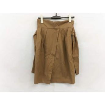 【中古】 ランバンオンブルー スカート サイズ38 M レディース 美品 ライトブラウン リボン