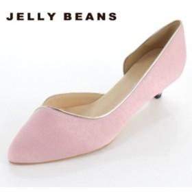 JELLY BEANS ジェリービーンズ 靴 4003 パンプス サイドオープン ふわさら アーモンドトゥ キトゥンヒール ピンク 日本製 レディース セ
