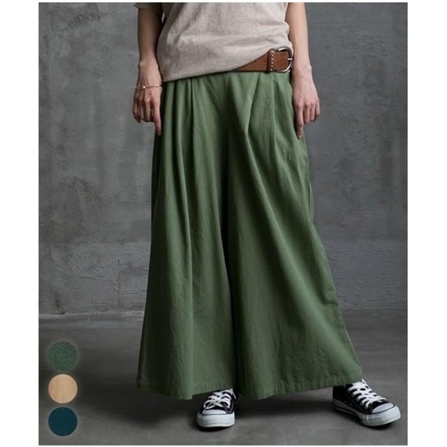 パンツ ワイド ガウチョ レディース 綿ツイル前タック入ワイド  M/L ニッセン