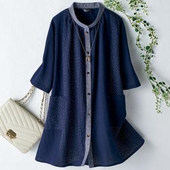 ベルーナ 日本製 久留米織立ち衿ブラウス ワイン系 M-L レディース