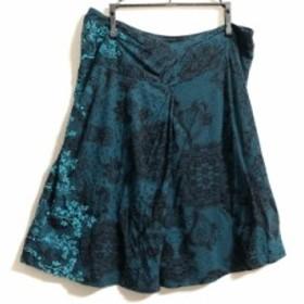 デシグアル Desigual スカート サイズM レディース グリーン×黒×マルチ フラワー【中古】