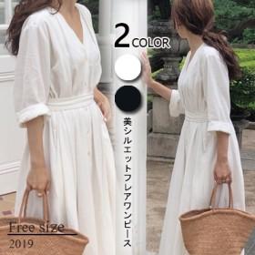 【自社製品 】2019韓国ファッション 春のシャツワンピース ボディラインがキレイに見える美シルエットフレアワンピース