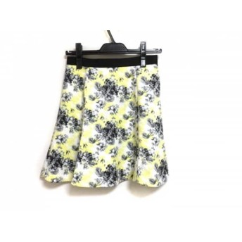 【中古】 アプワイザーリッシェ Apuweiser-riche スカート サイズ2 M レディース 黒 白 イエロー 花柄