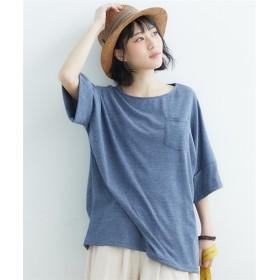 【ゆったりワンサイズ】袖ロールアップビッグシルエットトップス (Tシャツ・カットソー)(レディース)T-shirts