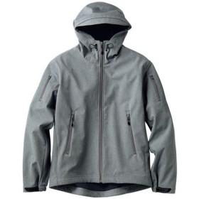 【メンズ】 ストレッチ・アスレチックパーカ。3レイヤー素材を使用したソフトシェルジャケット - セシール ■カラー:グレー ■サイズ:LL