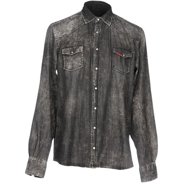 《期間限定セール開催中!》LIU JO MAN メンズ デニムシャツ ブラック S テンセル 55% / コットン 43% / ポリウレタン 2%