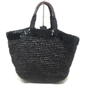 【中古】 ビューティアンドユース ユナイテッドアローズ トートバッグ 黒 ブラウン かごバッグ