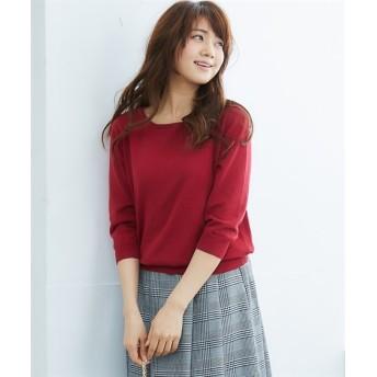 洗えるUVカット綿100%ボートネック7分袖セーター (ニット・セーター)(レディース),Knitting