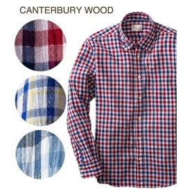 シャツ カジュアル メンズ CANTERBURY WOOD カンタベリーウッド クレープチェック柄 長袖 トップス M/L/LL ニッセン