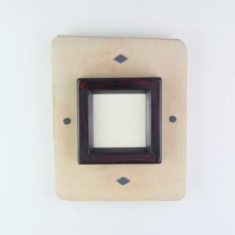 陶器のミニチュア額縁 ハンドメイド オリジナルフレーム 木製枠(茶)