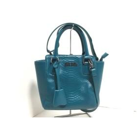 【中古】 フォリフォリ FolliFollie ハンドバッグ 美品 ライトブルー 型押し加工 合皮