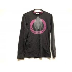 【中古】 ディーゼル DIESEL 長袖Tシャツ サイズS レディース ダークグレー ピンク ライトグレー