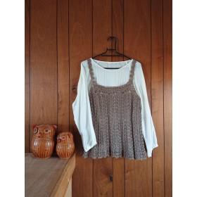 夏糸手編みブラウンのキャミソール