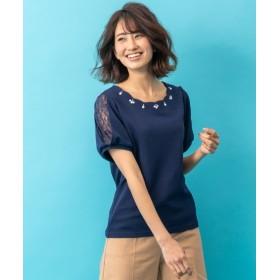 袖レース衿ビジュー付ジャガードトップス (Tシャツ・カットソー)(レディース)