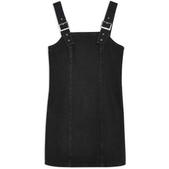 《セール開催中》TOPSHOP レディース ミニワンピース&ドレス ブラック 8 コットン 100% BUCKLE STRAP DENIM DRESS