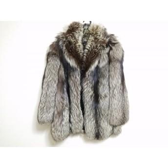 【中古】 サガフォックス SAGA FOX コート レディース ダークブラウン アイボリー ネーム刺繍/冬物