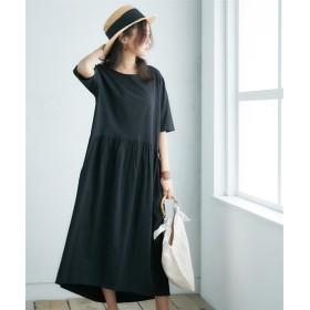 【ゆったりワンサイズ】5分袖カットソーマキシ丈ワンピース (ワンピース),dress