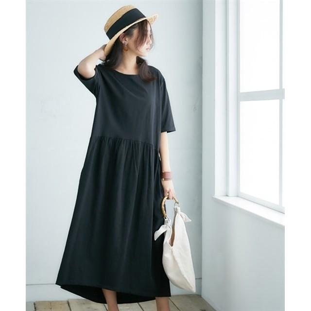 【ゆったりワンサイズ】5分袖カットソーマキシ丈ワンピース (ワンピース)Dress, 衣裙, 連衣裙