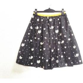 【中古】 フランシュリッペ スカート サイズM レディース 美品 black 黒 ベージュ ネコモチーフ