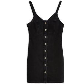 《期間限定セール開催中!》TOPSHOP レディース ミニワンピース&ドレス ブラック 12 コットン 100% BUTTON DENIM BODYCON DRESS