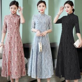 cf52a90272f84 チャイナドレス パーティードレス フォーマル ワンピース ドレス 大きいサイズ チャイナ服 レディース 春 7分袖