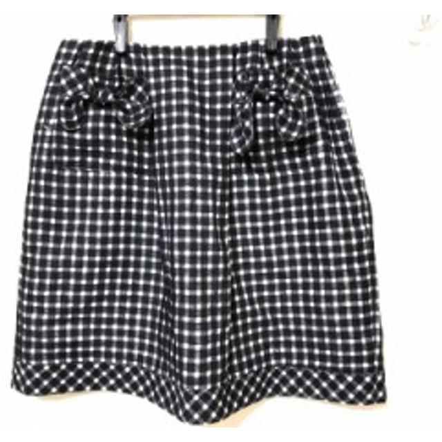 ルネ Rene ミニスカート サイズ38 M レディース 黒×白 TISSUE/チェック柄/リボン【中古】