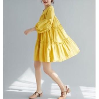 新着 ワンピース 長袖 レディース ワンピース ルーズ 大きいサイズ 無地 ルーズ ワンピース 春 マタニティ 体型カバー 夏服