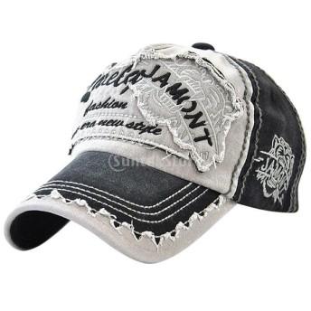 野球 キャップ コットン 太陽 帽子 全5色 - ブラック