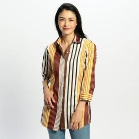 [マルイ]【セール】ランダムストライプ七分袖ロングシャツ/ナラカミーチェ(NARACAMICIE)